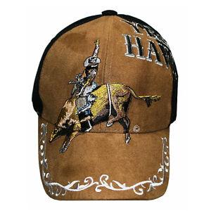 New-Yee-Haw-Brown-Faux-Suede-Bullrider-Baseball-Cap-Cowboy-Western-Hat