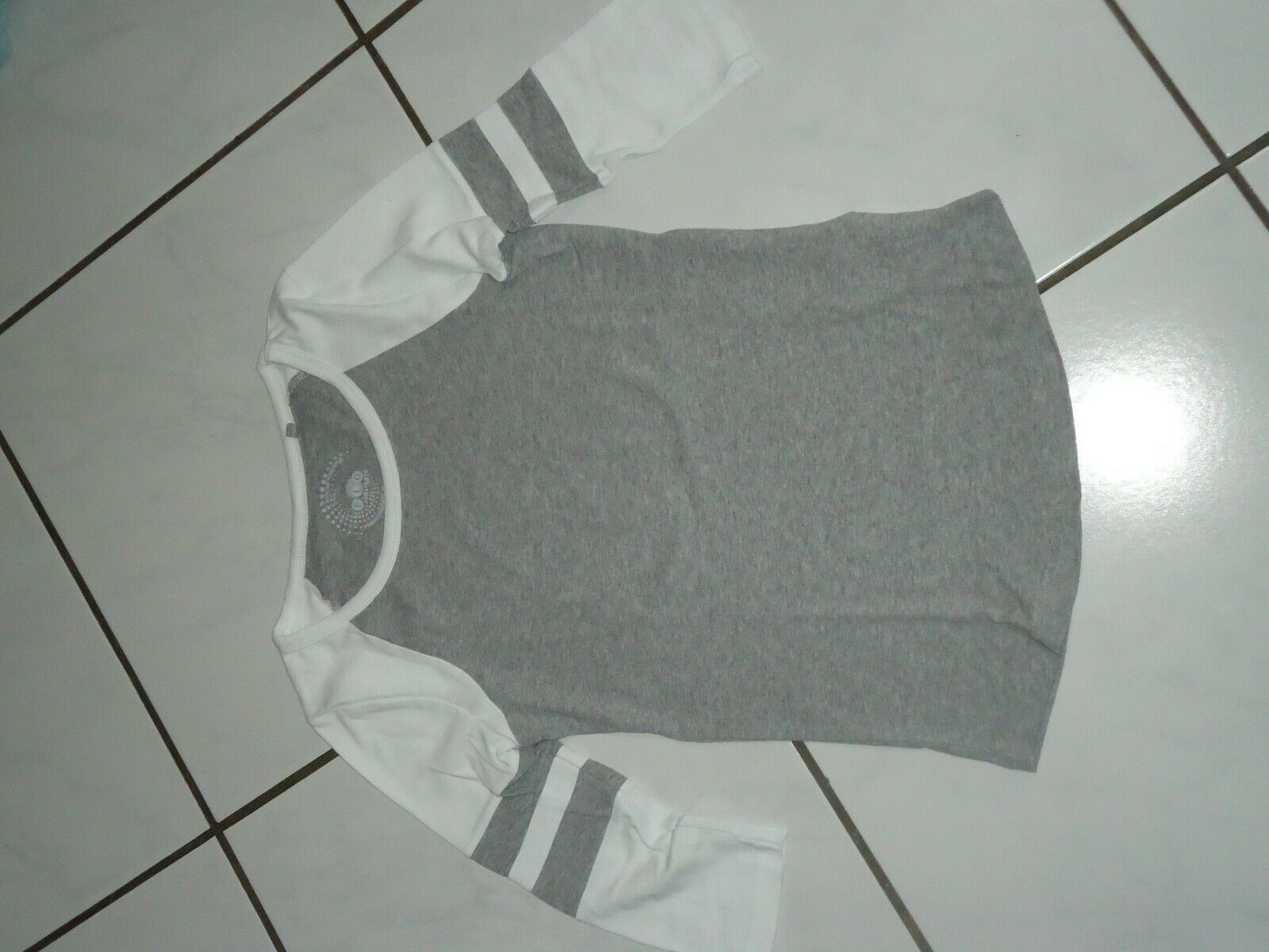 Damen langarm Shirt grau weiß Gr. XS