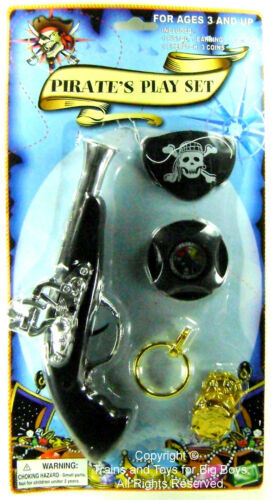 PIRATES PLAY SET BLUNDERBUSS COMPASS EYE PATCH EARRING COINS Costume Pistol r