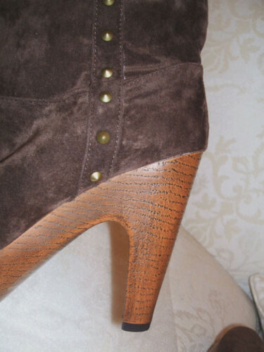BRAND NEW PRIMARK SIZE 5 6 7 BROWN FAUX SUEDE STUDDED WOOD HEEL ANKLE BOOTS