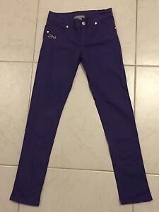 Girls-Size-9-Pumpkin-Patch-Purple-Jeans-With-Adjustable-Waist
