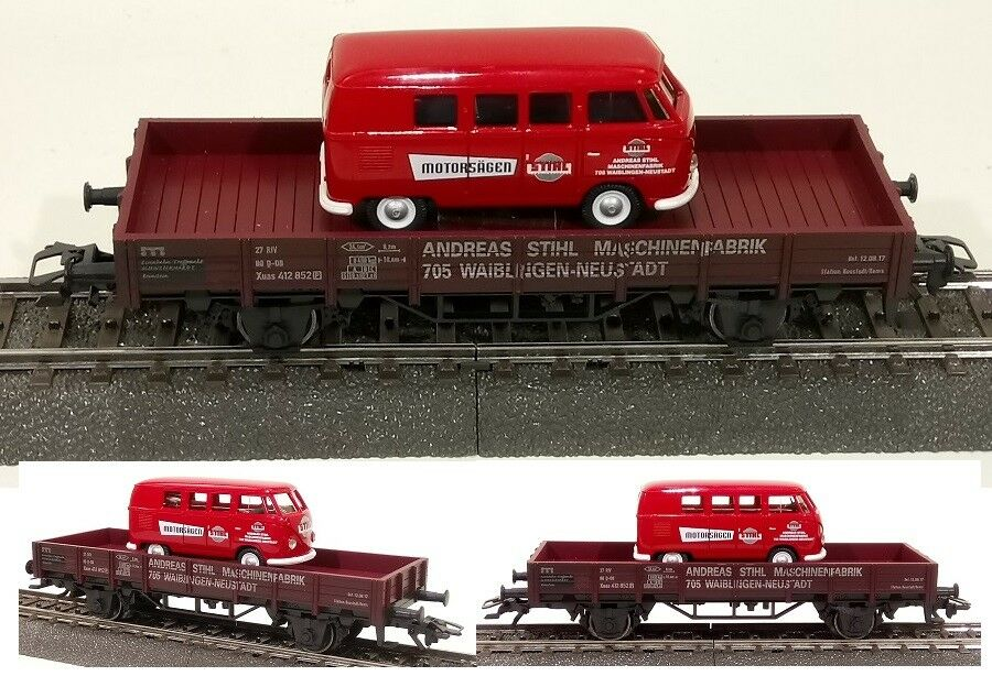 Märklin H0 4424-139 Niederbordw. STIHL Ladegut WIKING 078855 VW Bus T1 Typ 2