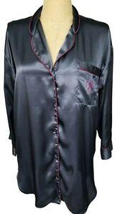 Vtg Victoria Secret Gold Label Black Button Front Night Shirt Gown Medium AS IS