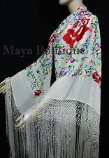 """Flamenco Embroidered Silk Piano Shawl Wrap White Flower & Birds Multicolors 90"""""""