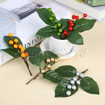 Artifical Berries Branch Christmas Wedding Berry Leaves Flower DIY Decoration 5x