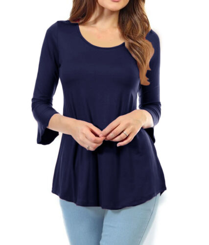 Modal Three-Quarter-Length Belt Sleeve Scoop Neck Top S M L