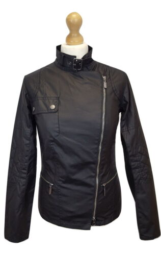 #099A Barbour Ladies Wax Cotton Templates Black Streak Jacket, UK 8, RRP 299