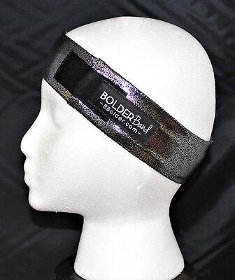 Metallic silver and black headband