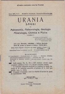 Urania, rivista, 1924, anno XIII n. 6, astronomia, mineralogia, chimica, fisica