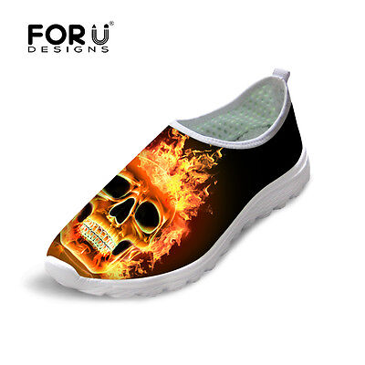 Fire Skull Print Mesh Shoes Men Women Smart Breathable Casual Sneaker Ultralight