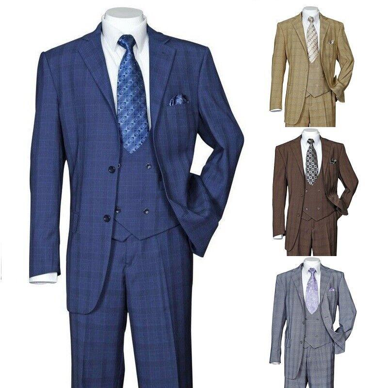 Men's 3 Piece Luxurious Suit With Vest&Pants Two Button Two Side Vents