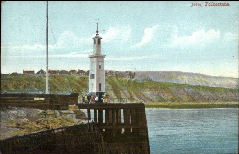 Folkestone - Jetty & Lighthouse c1910 Postcard