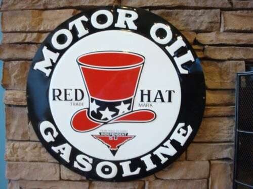 "Red Hat Gas Motor Oil Garage Metal Tin Sign 24"" Vintage Decor Embossed Large New"