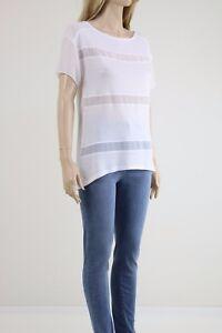 Karen-Millen-Women-039-s-White-Short-Sleeve-Blouse-With-Front-Detail-UK-SIZE-10