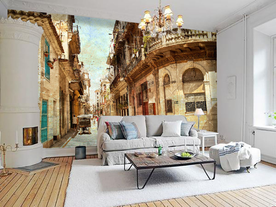3D Und eine Reihe von häusern Fototapeten Wandbild Fototapete BildTapete Familie