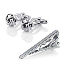 Premium Men Silver Stainless Steel Necktie Tie Clip Cufflinks Simple Gift Set