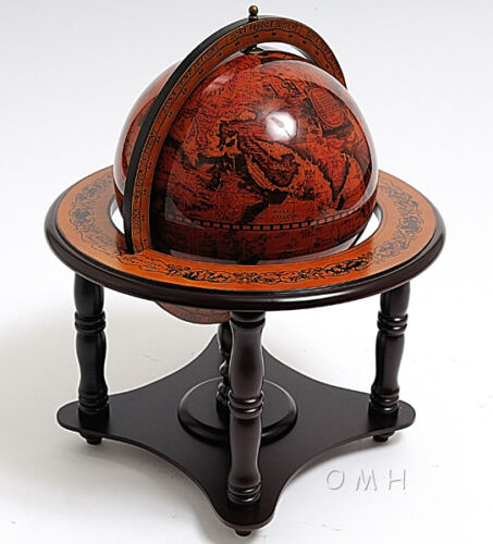 World Globe Table Top Wooden Stand 8.75 Old World Style Nautical Decor New