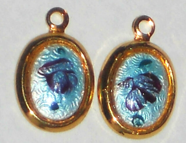 #1286O Vintage Charms Enamel Dangles Drops Connectors Findings Rose Blue Rose