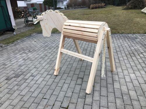 Kopf Aktion Aufstiegshilfe,bew Holzpferd Holzpony Voltigierpferd Sattelbock