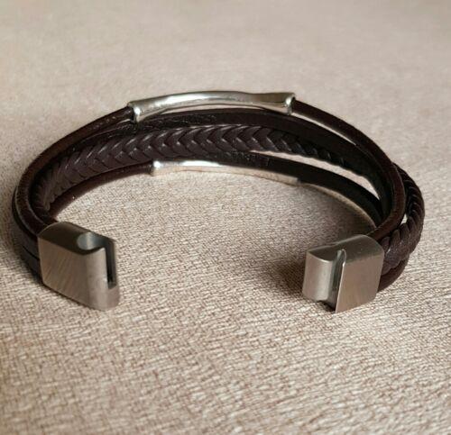 De Acero Inoxidable. 2 tamaños Cuero Negro Pulsera de cuero para hombre hecho a mano 2 Colores