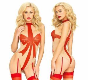 Red-Body-Bow-Teddy-Sexy-Suspender-Lingerie-Size-8-10-12-Leg-Avenue-Bodysuit-UK