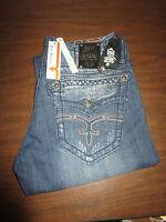 Rock Revival Benjamin Denim Jeans Straight Leg & Spare Button