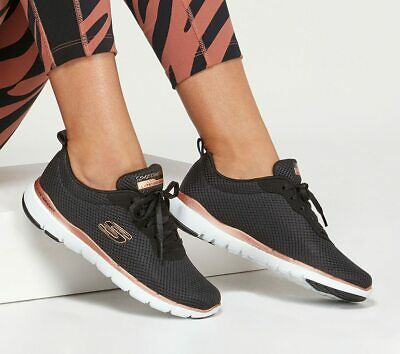 SKECHERS FLEX APPEAL 3.0 FIRST INSIGHT Sneakers Black Rose Gold 13070BKRG | eBay