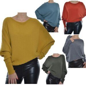 Damen-Pullover-Fluegelarm-Fledermaus-Pulli-Feinstrick-36-38-40-42-44-S-M-L