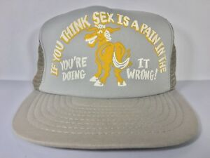 Vintage-034-If-You-Think-Sex-Is-A-Pain-In-The-Ass-034-Funny-Novelty-Trucker-Hat-Gray