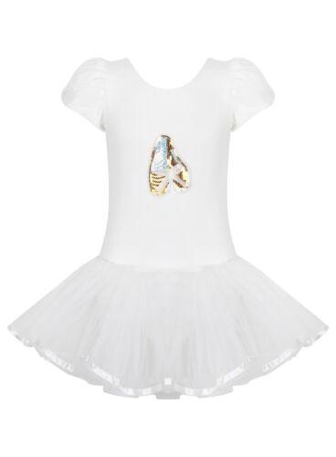 Age 2//8 yrs White Toddler Girls Ballet Sequin Tutu Leotard Dance Ballerina