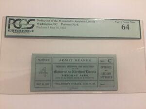 1922-President-Abraham-Lincoln-Memorial-Dedication-Platform-4-Ticket-PCGS