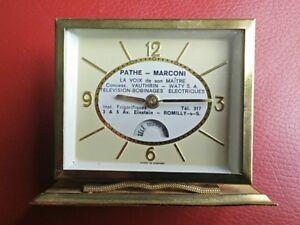 Table-Clock-Advertising-Pathe-Marconi-La-Voice-Of-Sound-Maitre-circa-1950