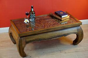 Dettagli su Tavolino da Salotto in Legno Massello Tavolo Oppio Lastra di  Vetro Tabella Del
