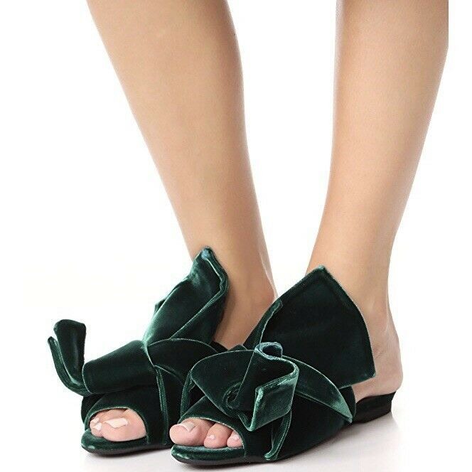 2e7e625be902 NIB N°21  599 38.5   US 8 8 8 - 8.5 Green Velvet Knotted Bow Sandal ...