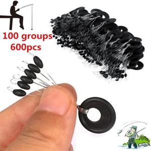 100 Groups 600pcs Fishing Float Stop Rubber Stopper Bobber Sinker Line Beans
