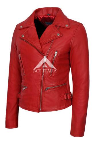Ladies Leather Jacket Red Smart Fit Fashion Designer 100/% REAL NAPA JACKET 2100