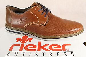 6c09ebc2fa9c Das Bild wird geladen Rieker-Herren-Schnuerschuhe-Halbschuhe-B1428-Sneakers- braun-Leder-