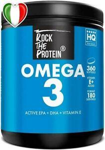Omega 3 Olio di Pese Alto Dosaggio 1000mg + Vitamina E Acidi Grassi Essenziali