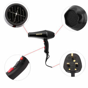 Concentrator-Nozzle-2200w-Hair-Dryer-Hairdryer-Drier-2-Heat-2-Power-Settings