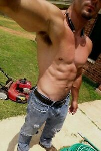 Shirtless Male Athletic Muscular Physique Close Up Abs Pecs Shot PHOTO 4X6 C1733