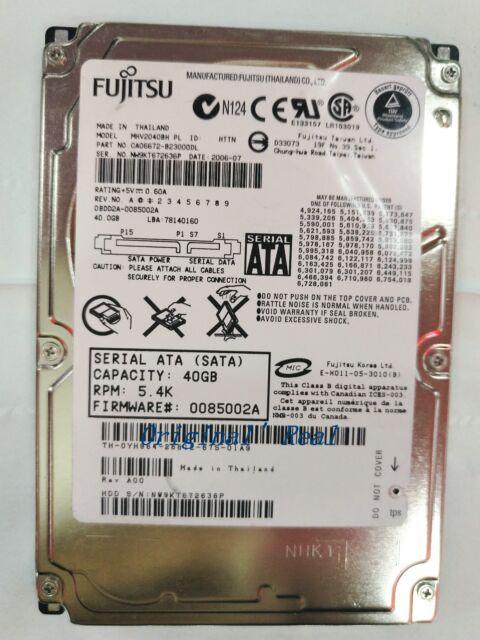 """Fujitsu 40GB,Internal,5400 RPM,6.35 cm (2.5"""") (MHW2040BH) notebook  HDD"""