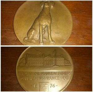 BRONZE-1876-CENTRAL-MANUFACTURERS-Mutual-Insurance-Medallic-Art-Chief-Setter-Dog