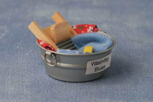 Wash Tub With Accessories Dolls House Miniature 1.12 Scale Laundry Accessory