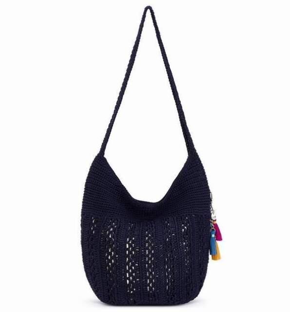 The Sak Palm Springs Crochet Hobo Shoulder Bag Navy With Gold Ship