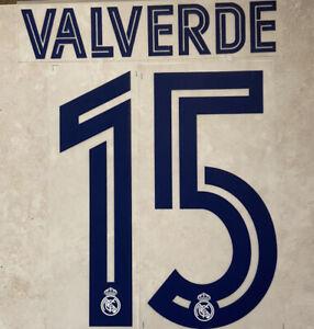 Flocage Nameset Valverde #15 Real Madrid 2020-2021 Domicile Extérieur.