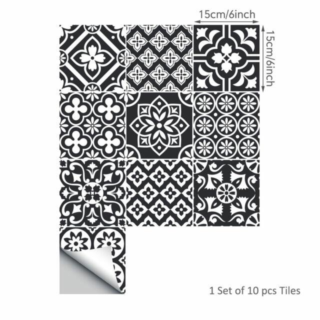 10pcs Traditional  Moroccan Tile Foil Transfers Stickers Vintage Home Decor