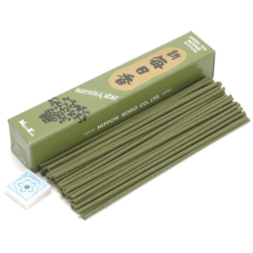 Japanese Nippon Kodo Morning Star GREEN TEA Incense 50 Sticks w// Incense Holder