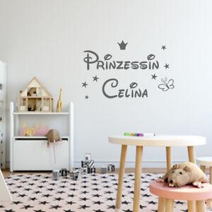 Details zu Wandtattoo Kinderzimmer Prinzessin +Namen Krone Sterne Sticker  personalisiert