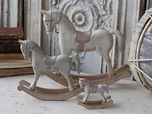 Shabby Chic Natale : Chic antico cavallo a dondolo natale legno color champagne cm
