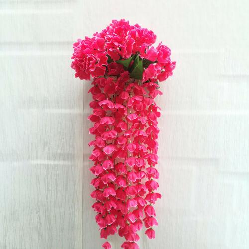 Hanging Flowers Artificial Violet Flower Wall Wisteria Basket Hanging Garland US